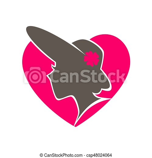 Beauty salon emblem with woman in hat inside heart - csp48024064