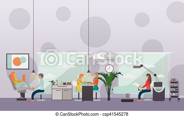 Beauty salon interior vector concept banners. Women in manicure and make up design studio. - csp41545278