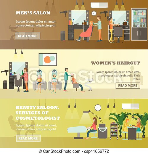 Beauty Salon Vector Banners People Doing Hair Cut Manicure