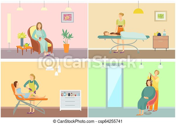 Beauty salon with clients and equipment cartoon beauty for Uniform spa vector