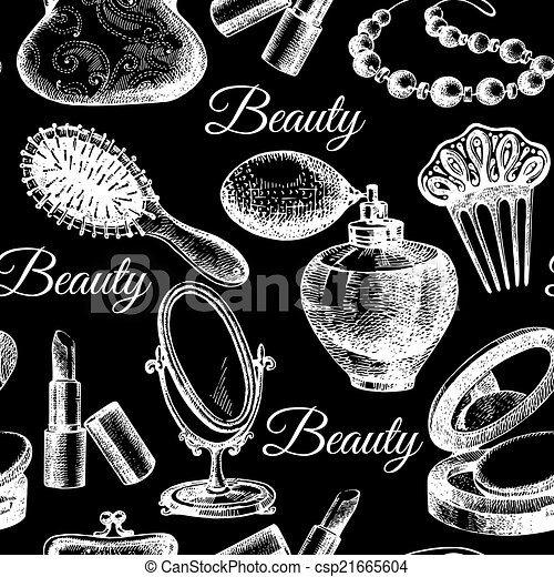 Beauty seamless pattern. Cosmetic accessories.  - csp21665604