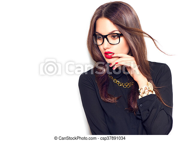 3198f7a55 Beauty sexy fashion model girl wearing glasses, isolated on white background  - csp37891034