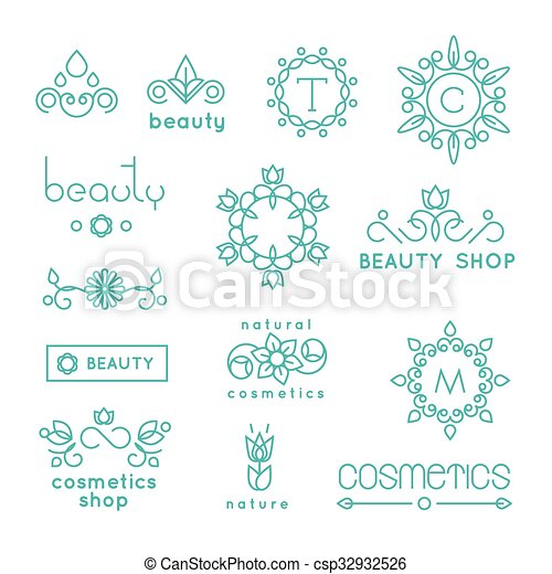 Beauty shop cosmetic industry linear vector icons and badges set