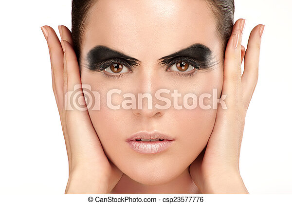 Beauty shot artistic smoky eye on beautiful model - csp23577776