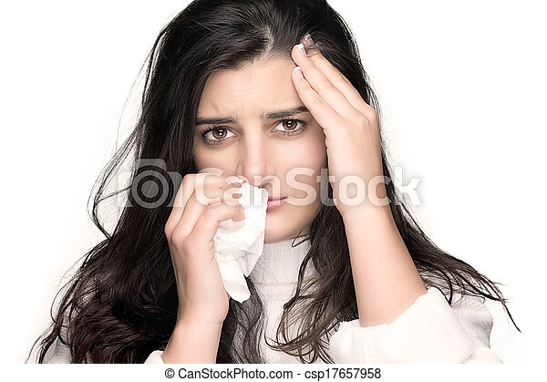 Beauty Sick Young Woman with Flu or Allergy - csp17657958