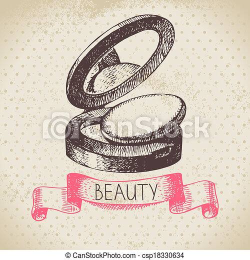 Beauty sketch background. Vintage hand drawn vector illustration of cosmetic - csp18330634
