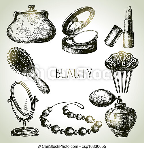 Beauty sketch icon set. Vintage hand drawn vector illustrations of cosmetics  - csp18330655