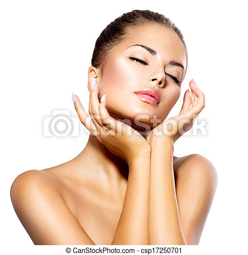 Beauty Spa Woman Portrait. Beautiful Girl Touching her Face - csp17250701