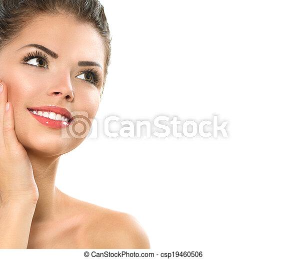 Beauty Spa Woman Portrait. Beautiful Girl Touching her Face - csp19460506