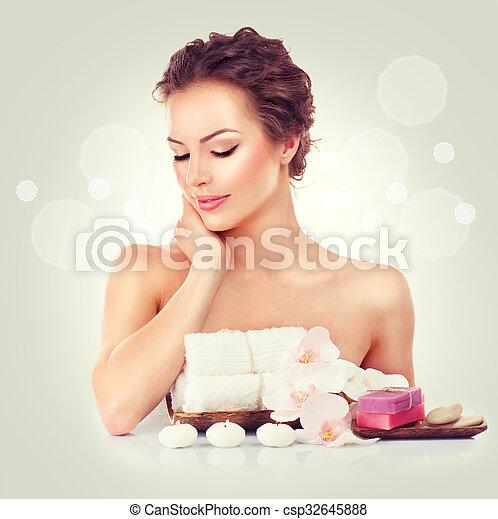 Beauty spa woman touching her soft skin - csp32645888