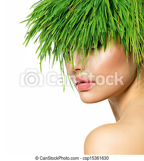 Beauty Spring Woman with Fresh Green Grass Hair - csp15361630