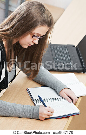 beauty student girl studying - csp6447178