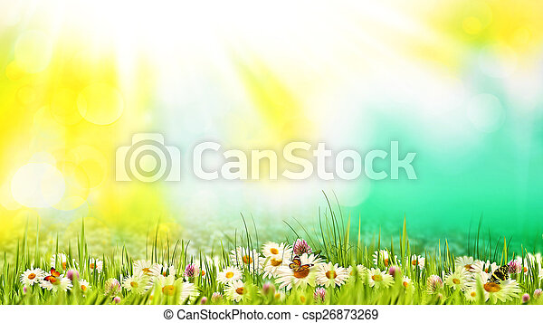 Beauty summer day on the meadow. Abstract natural backgrounds fo - csp26873269