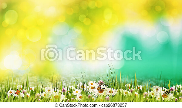 Beauty summer day on the meadow. Abstract natural backgrounds fo - csp26873257