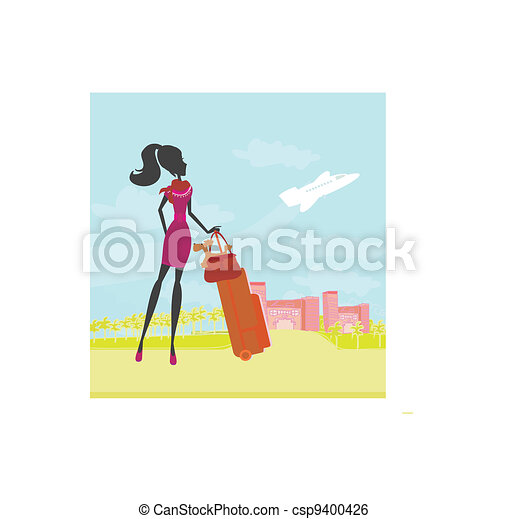 beauty travel girl with baggage  - csp9400426