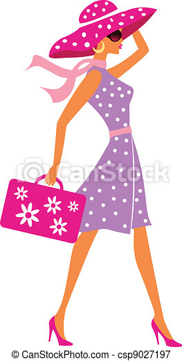 beauty travel girl with baggage - csp9027197