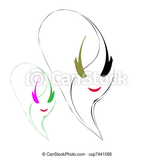 beauty vector face girl portrait  - csp7441095