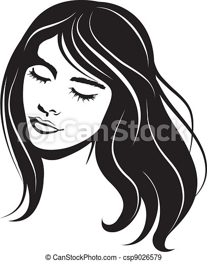 beauty vector face girl portrait - csp9026579