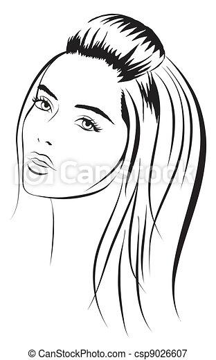 beauty vector face girl portrait - csp9026607