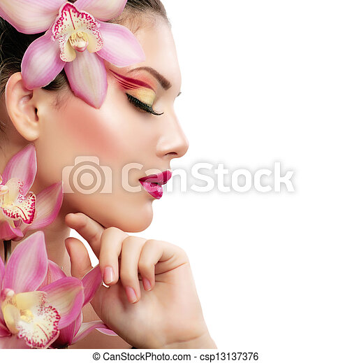 Beauty Woman. Beautiful Model Girl. Isolated on a White Background - csp13137376