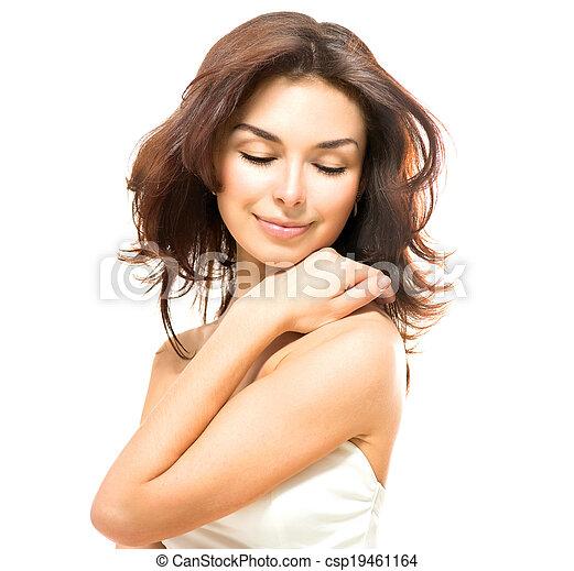 Beauty Woman. Beautiful Young Female Touching Her Skin  - csp19461164