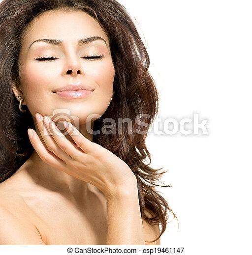 Beauty Woman. Beautiful Young Female touching Her Skin - csp19461147