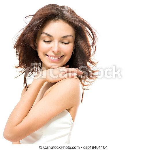 Beauty Woman. Beautiful Young Female touching Her Skin - csp19461104
