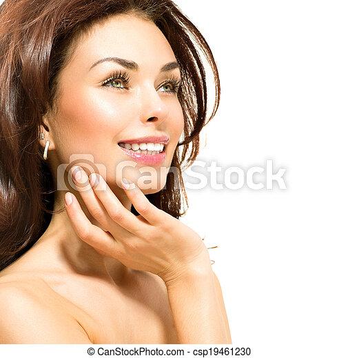 Beauty Woman. Beautiful Young Female touching Her Skin - csp19461230