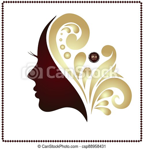 Beauty woman face silhouette in profile. - csp88958431
