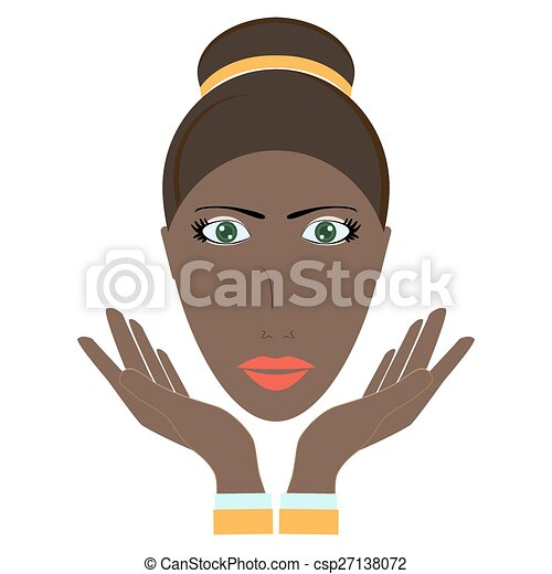 beauty woman face. Vector illustration - csp27138072