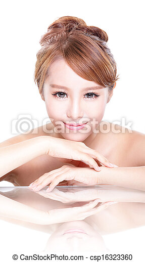 Interesting asian woman face down