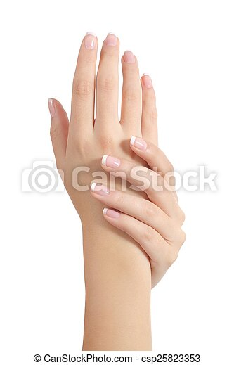 Beauty woman hands with perfect french manicure - csp25823353
