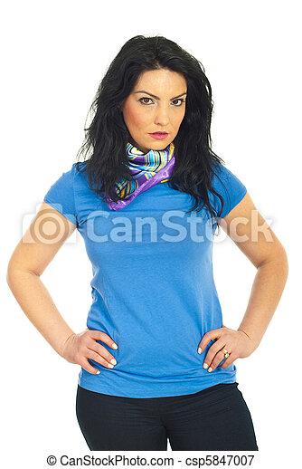 Beauty woman in blank blue t-shirt - csp5847007