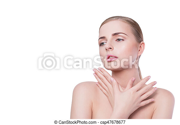 Beauty woman portrait. Beautiful model girl with perfect fresh clean skin and natural professional makeup. Blonde female showing ideal manicure on white background. Youth and skin care concept - csp47678677