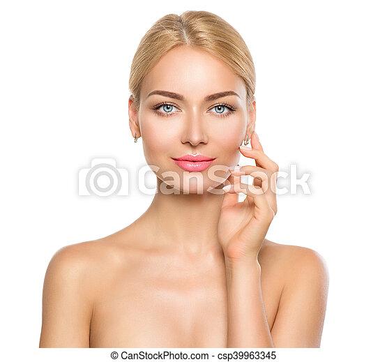 Beauty woman portrait. Beautiful spa girl touching her face - csp39963345