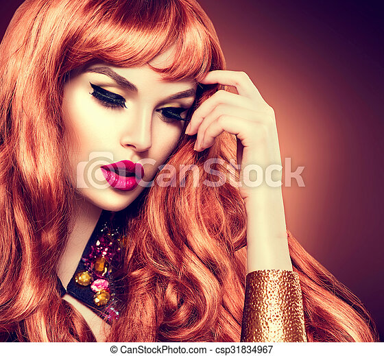 Beauty woman portrait. Healthy long curly red hair - csp31834967