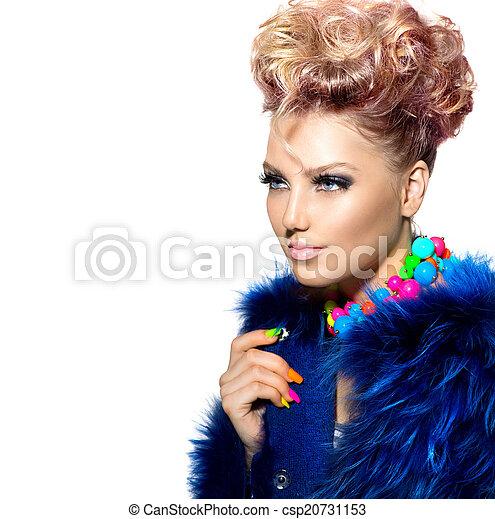 Beauty woman portrait in fashion blue fur coat  - csp20731153