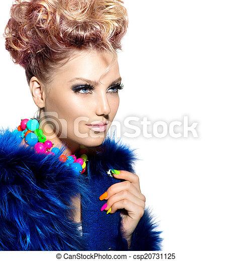Beauty woman portrait in fashion blue fur coat - csp20731125