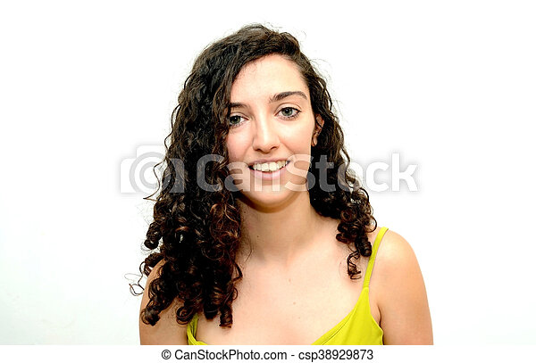 Beauty Woman Portrait over White Background - csp38929873
