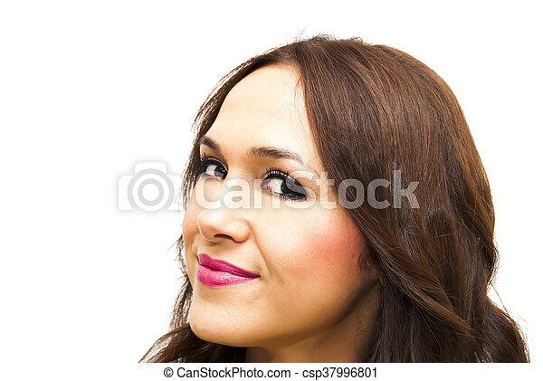 Beauty Woman Portrait Over White - csp37996801