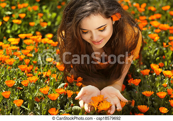Beauty Woman Portrait With Flowers Free Happy Brunette Enjoying Nature Enjoyment Freedom Concept Beauty Girl Over