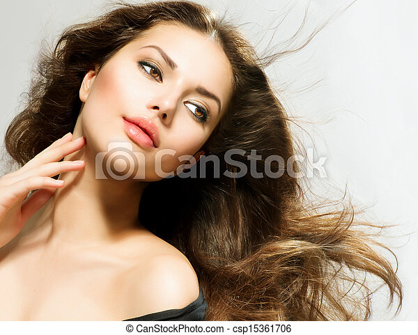 Beauty Woman portrait with long hair. Beautiful Brunette Girl  - csp15361706