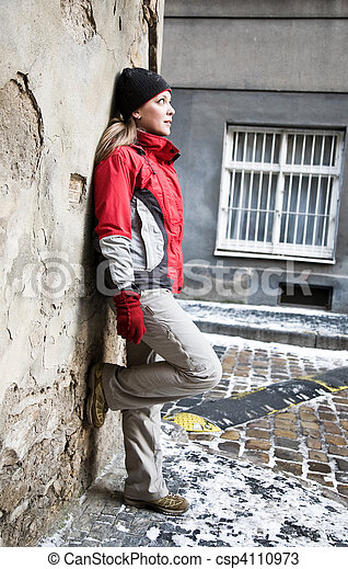 Beauty Woman Staying Against The Wall - csp4110973