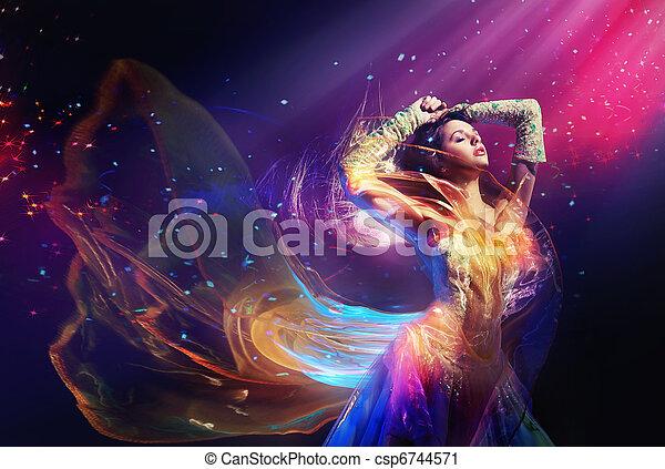 Beauty woman wearing gorgeous dress - csp6744571