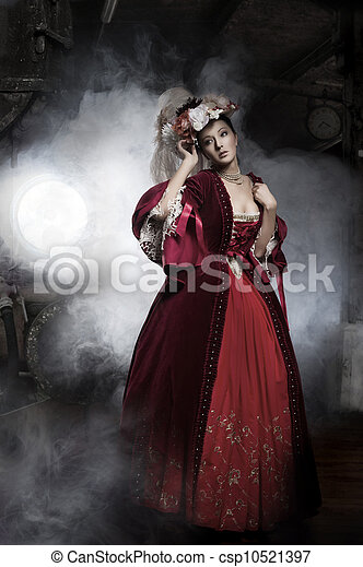 Beauty woman wearing old fashioned dress - csp10521397
