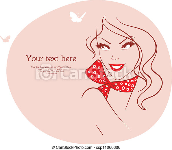 Beauty woman with butterfly - csp11060886