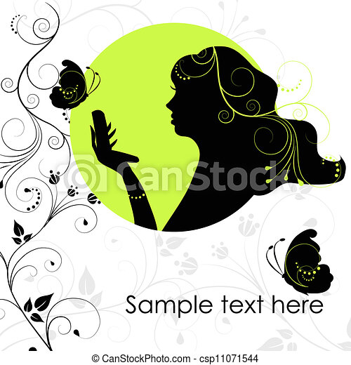 Beauty woman with butterfly - csp11071544