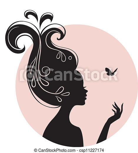 Beauty woman with butterfly - csp11227174