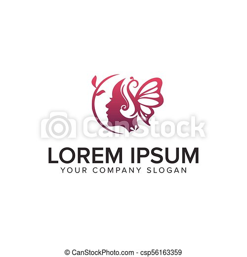 beauty woman with butterfly logo design concept template - csp56163359