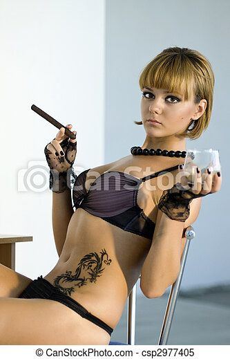 beauty woman with cigar - csp2977405